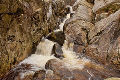 Stream Waterfall. Long exposure time photo of a stream falling down a cliff Stock Image