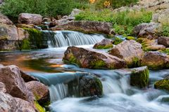Stream with white water at fulufjallet nature reserve. In sweden stock images