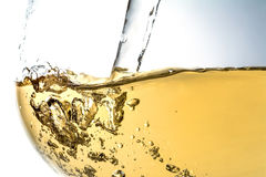 Stream of wine being pouring into a glass closeup, wine, splash, bubbles, fizz Stock Photos