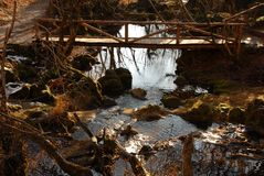 Stream and wooden bridge Stock Photo