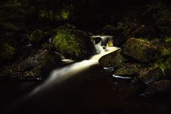 Stream in the Jungle. Stream at Wyming Brook Nature Reserve - Peak District UK royalty free stock image