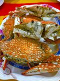 Streamed Flower Crab or Blue. A recommend menu of Thai seafood, eat with spicy and sour sauce, a famous Thai dish at seaside e.g. Pattaya, Huahin, Cha-am, Samui royalty free stock image