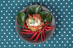 Streamed vegetable curry in banana leaf cup call 'Hor Mok J' is spicy Thai organic food. Stock Image
