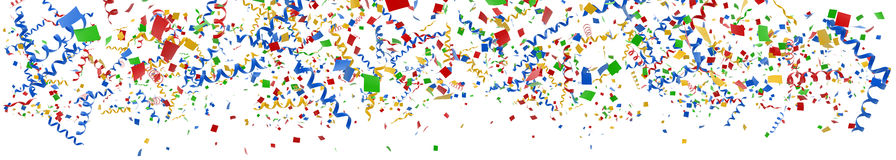 Streamer Banner. 3D render of streamers and confetti Stock Photos