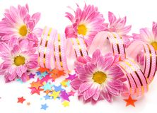 Streamer and flowers Royalty Free Stock Photo