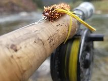 Streamer fly. On a sink tip. Fly fishing in montana Royalty Free Stock Photo