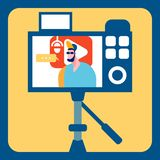 Streamer Recording Video Flat Color Illustration. Guy in Sunglasses and Peaked cap Cartoon Character. Video Content Creation Process. Young Vlogger Streaming vector illustration