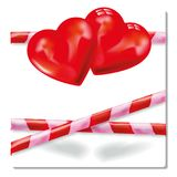 Streamer with two hearts and romance. Streamer with two hearts and wild romance Stock Photography