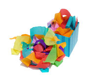 Streamers. Box of party streamers royalty free stock photo