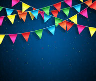 Streamers background design with birthday patterns for birthday party Stock Image