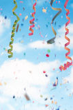 Streamers and confetti background royalty free stock images
