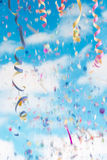 Streamers and confetti background royalty free stock photos