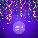 Streamers and confetti background. Vector party streamers and confetti on blue background Royalty Free Stock Images