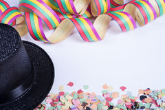 Streamers and confetti for carnival on white background Royalty Free Stock Photography