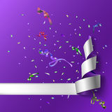 Streamers with confetti Stock Photos