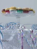 Streamers and cup cakes on table low angle view Stock Photo