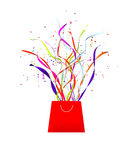 Streamers and party celebration ribbons coming from a bag Stock Images