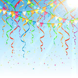 Streamers on sky background Stock Images