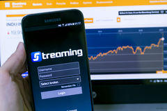 Streaming App, app for trading stock in Thailand Stock Exchange Stock Photo