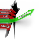 Streaming Beats Satellite Broadcast DVD Cable TV Viewing. Streaming television content is the way of the future illustrated by this picture of one arrow stock illustration