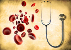 Streaming Blood Cells And Medical Stethoscope Stock Photos