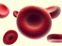 Streaming blood cells isolated on white Royalty Free Stock Photo