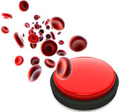 Streaming blood cells and red button Stock Image