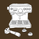 Streaming coffee machine hand drawing illustration style vector Stock Photos