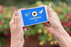 Streaming concept on a smartphone Royalty Free Stock Images