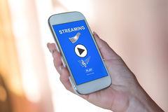 Streaming concept on a smartphone Royalty Free Stock Photo