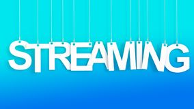 Streaming hanging Letters. Over blue background Royalty Free Stock Photo