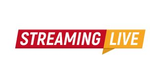 Streaming live logo, online video stream icon, digital internet TV banner design, broadcast button, play media content. Button, vector illustration on white Stock Photos