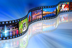 Streaming media concept. Filmstrip with colorful photos on blue abstract reflective background Royalty Free Stock Photography