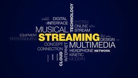 Streaming multimedia musical technology media netflix mobile radio tune cloud server animated word cloud background in. Uhd 4k 3840 2160 stock illustration