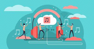 Streaming music vector illustration. Tiny persons concept with headphones. Streaming music vector illustration. Flat tiny persons concept with headphones vector illustration