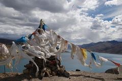 Streaming prayer flag Royalty Free Stock Images