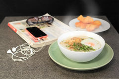 Thai foods Joke (Rice Porridge with mince pork) Stock Image