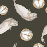 Streaming short mackerel in a basket , hand drawn sketch vector. Stock Image