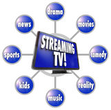 Streaming TV Content Entertainment Programs Movies Sports HDTV Stock Photo