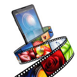 Streaming video with modern mobile phone. Isolated on white Royalty Free Stock Photography
