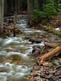 Streaming Water 1. This image of the small stream taken at slow shutter speed was shot in western MT Stock Photo