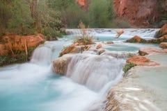 Streaming water at the bottom of Havasu Falls. Arizona, USA Stock Image