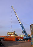 Streamline loading containers at Aberdeen Harbour, Aberdeen, Sco Stock Photo