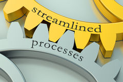 Streamlined processes concept on the gearwheels Stock Images
