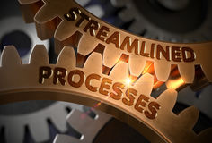 Streamlined Processes on Golden Gears. 3D Illustration. Stock Photo
