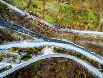 Streams of Aragvi river colliding, Georgia, aerial Royalty Free Stock Image