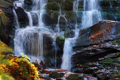 Streams and cascades of waterfall stock images