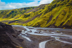 Streams from melting glaciers Royalty Free Stock Images