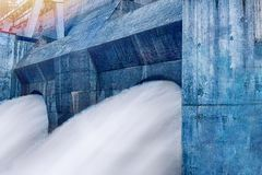 Streams of water from turbines of a hydroelectric station. Streams of water from turbines of a hydroelectric power station Royalty Free Stock Photos