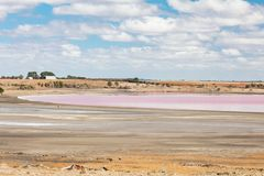 Streatham Pink Salt Lake. An ancient salt lake shimmers pink during a drought near Streatham in western Victoria, Australia royalty free stock photos